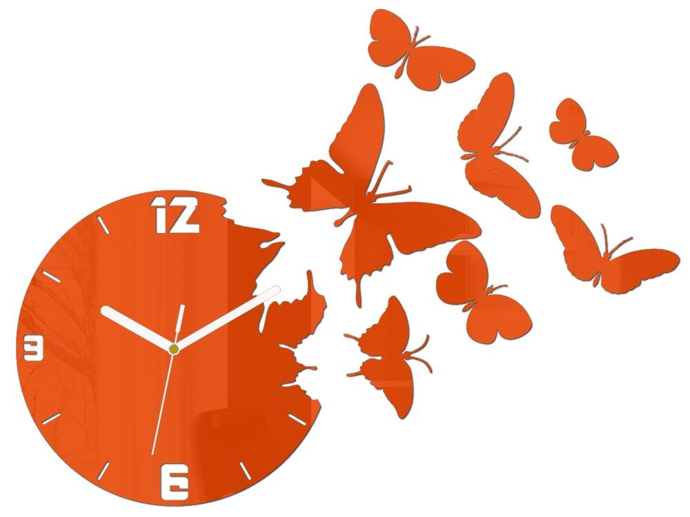 Mazur 3D nalepovací hodiny Butterfly oranžové