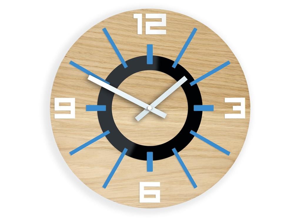 Mazur Nástěnné hodiny Alladyn Wood hnědo-modré