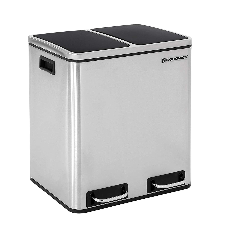 Rongomic Odpadkový koš 2 x 15L stříbrno-černý