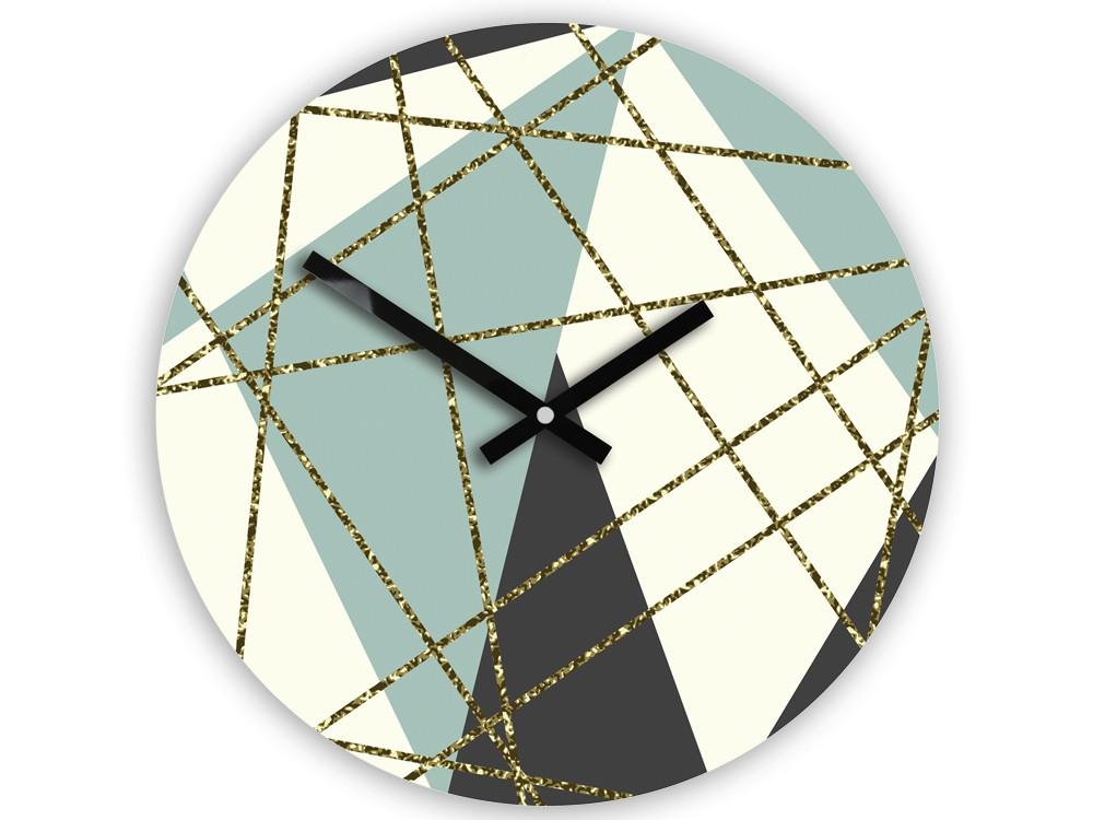 Mazur Nástěnné hodiny Geometric modro-bílé