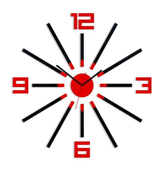 Levně Mazur 3D nalepovací hodiny Sheen černo-červené