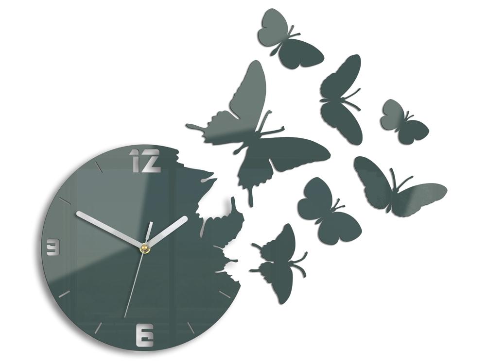 Mazur 3D nalepovací hodiny Butterfly tmavě šedé