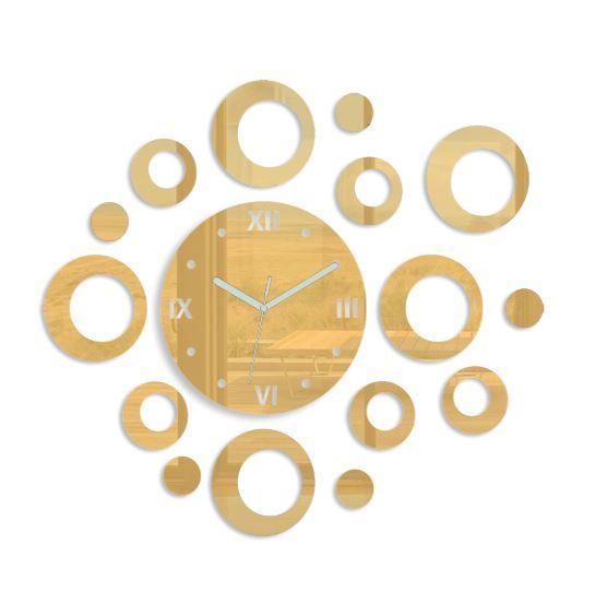 Levně Mazur 3D nalepovací hodiny Rings zlaté