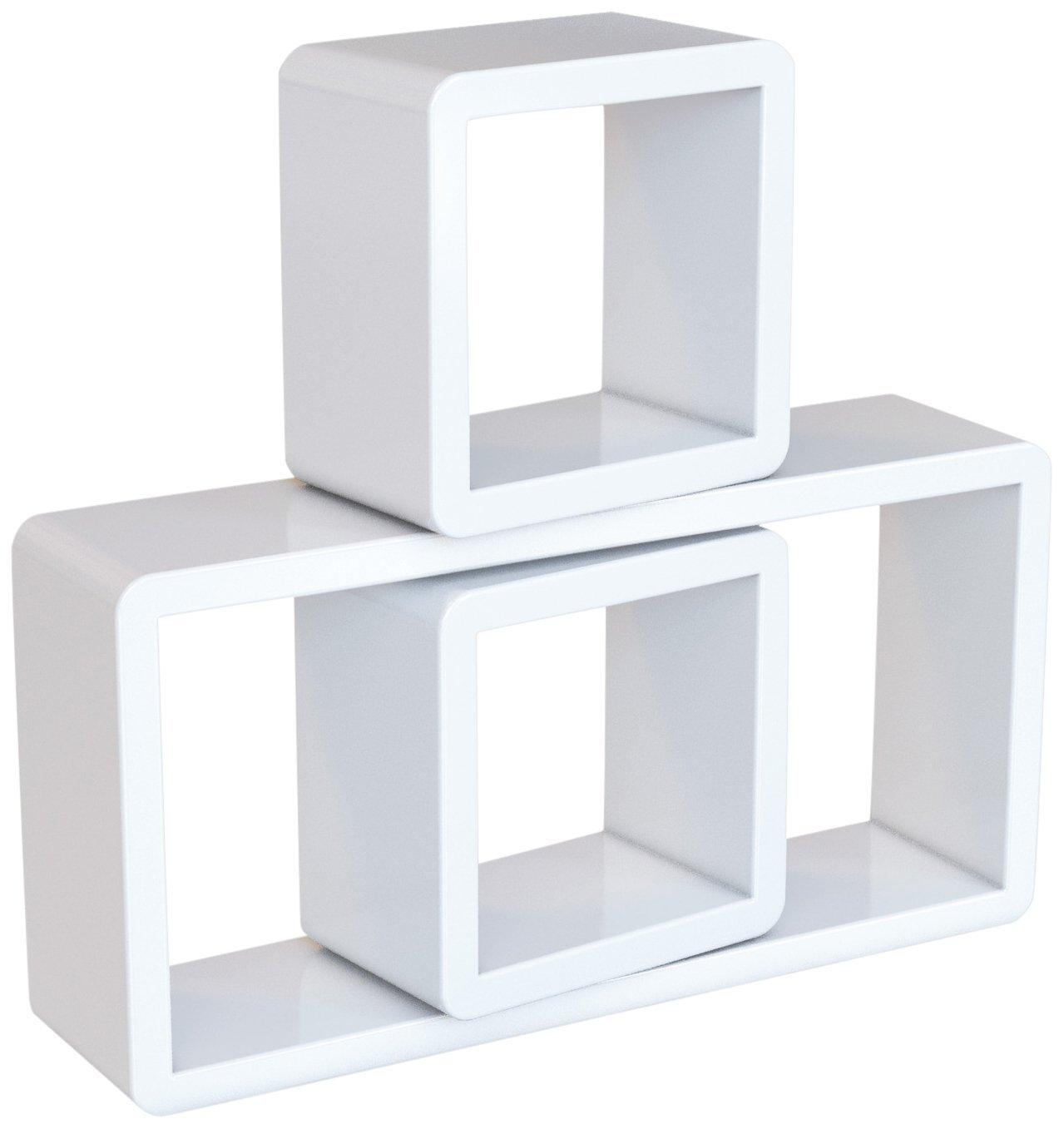 Rongomic Nástěnné poličky Uana bílé - 3 kusy