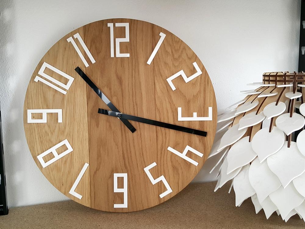 Mazur Nástěnné hodiny slim Dub hnědé 40 x 40 cm