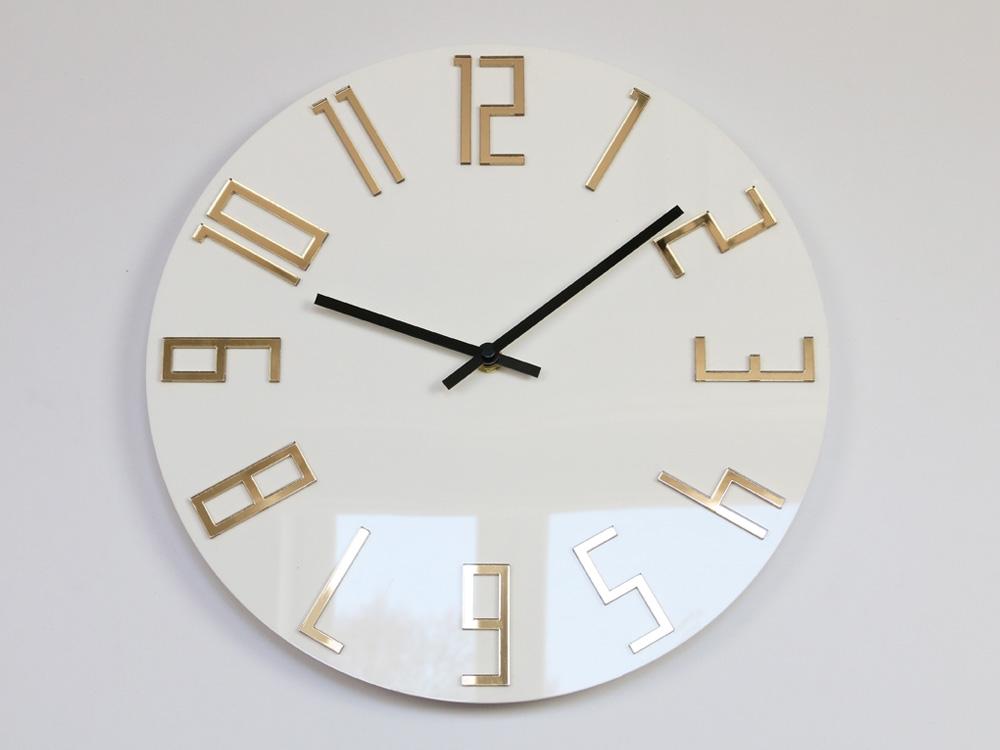 Mazur Nástěnné hodiny Slim Gold bílé
