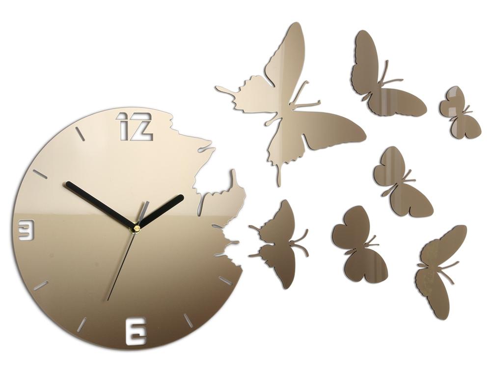 Mazur 3D nalepovací hodiny Butterfly matně zlaté
