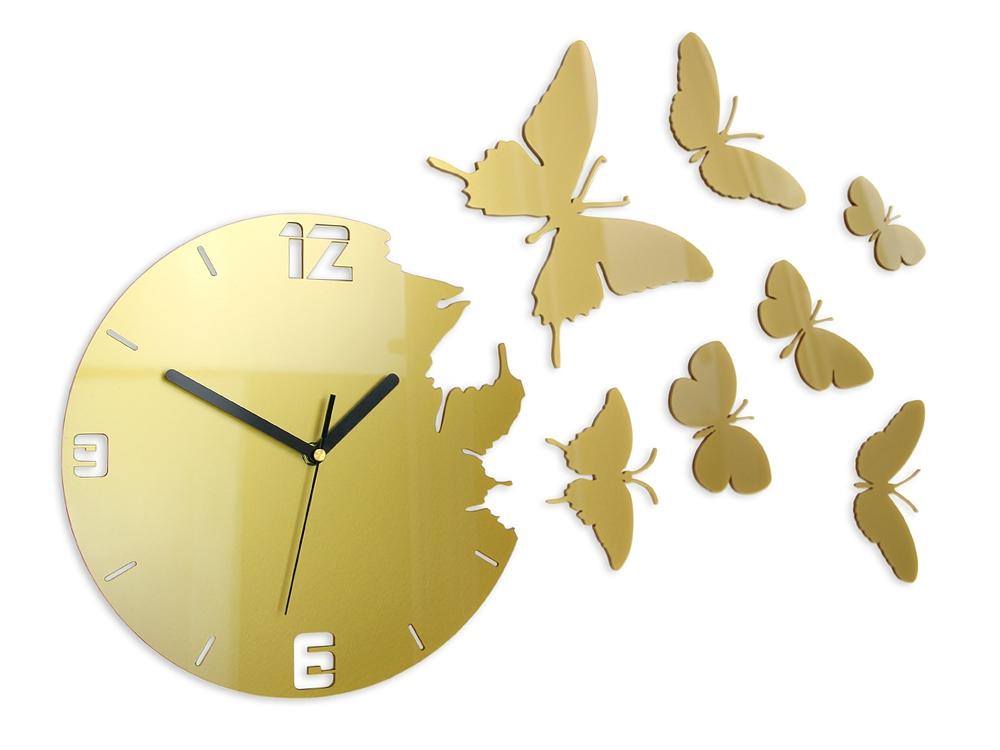 Mazur 3D nalepovací hodiny Butterfly zlaté